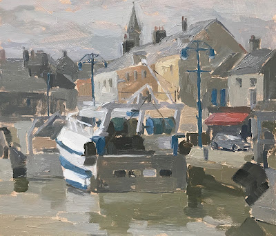 #195 'Port en Bessin, France' 18x21cm