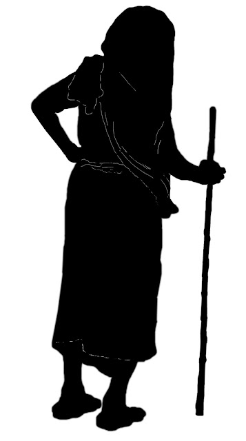 silhouette of old woman