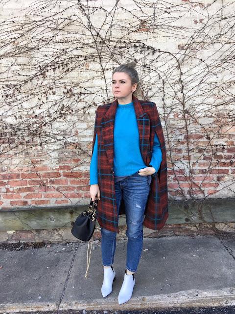Blue sweater + a cape coat