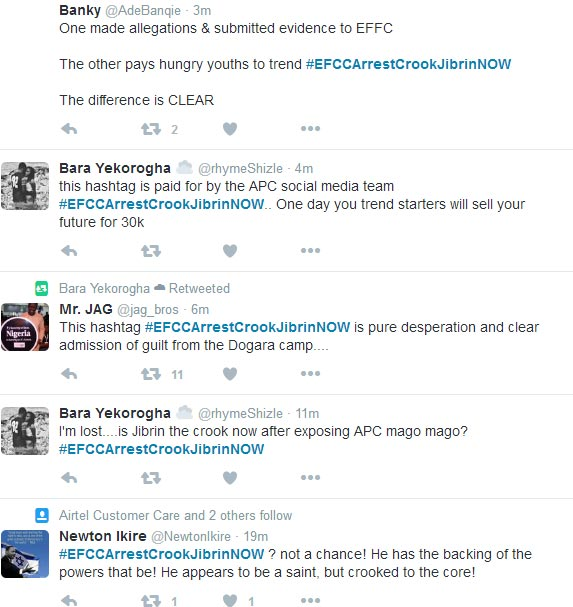 #EFCCArrestCrookJibrinNOW trending on Twitter