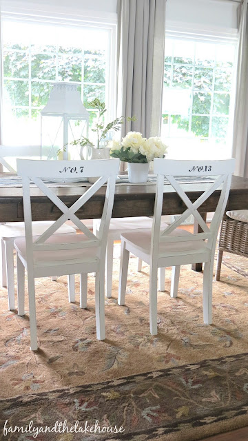 Family and the Lake House - Chalk Paint - Stenciled Chairs