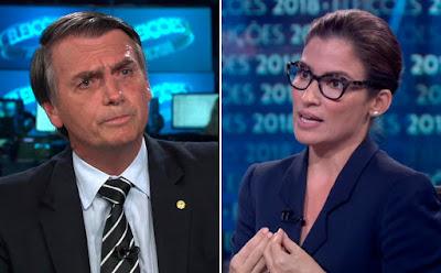 """EMBATE COM RENATA MARCA ENTREVISTA DE BOLSONARO; """"MEU SALÁRIO NÃO TE DIZ RESPEITO"""" DIZ ELA PARA O CANDIDATO"""