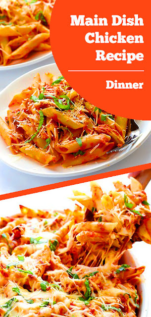Main Dish Chicken Recipe - This Chicken Parmesan Baked Ziti are so delicious, its only requires 6 ingredients and is totally delicious and comforting. #maindish #chicken #recipe #dinner