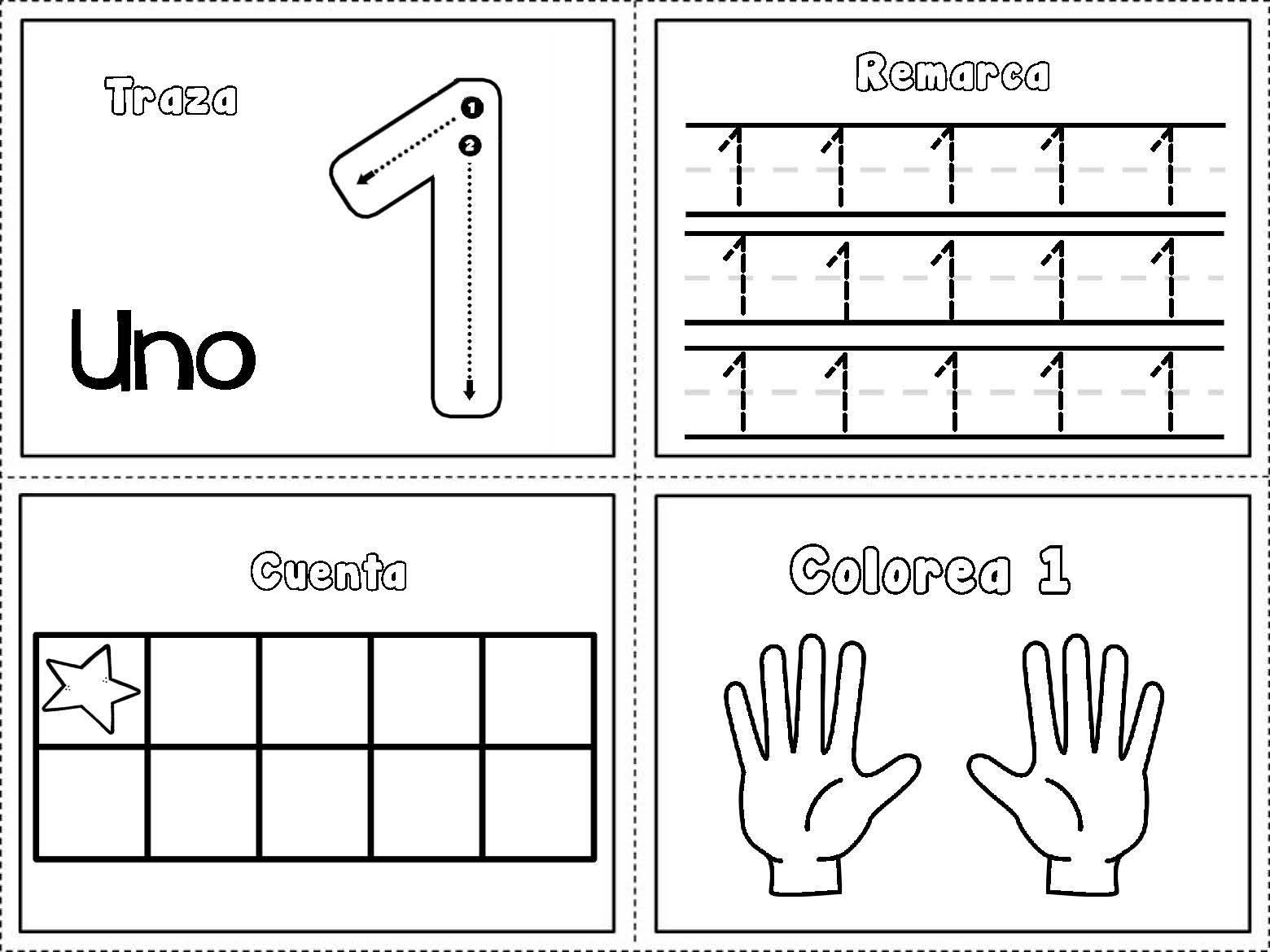 Mis recursos didácticos: Fichas para remarcar y colorear los números ...