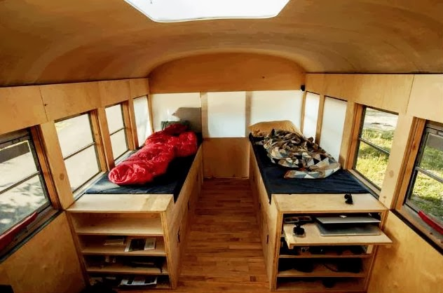 the flying tortoise hank butitta 39 s cleverly converted old school bus gets an a plus. Black Bedroom Furniture Sets. Home Design Ideas
