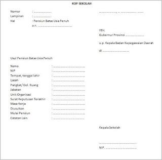 contoh surat pengajuan pensiun pegawai negeri sipil (pns) usia penuh