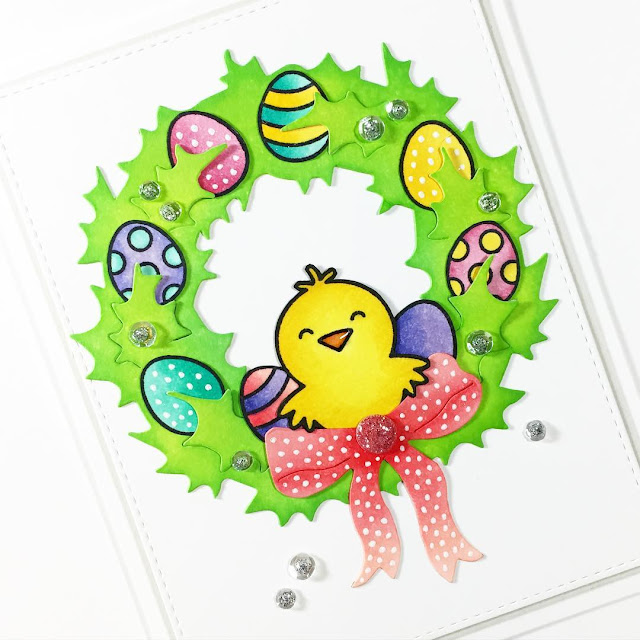 Sunny Studio Stamps: A Good Egg Easter Wreath Card by Stephanie Klauck