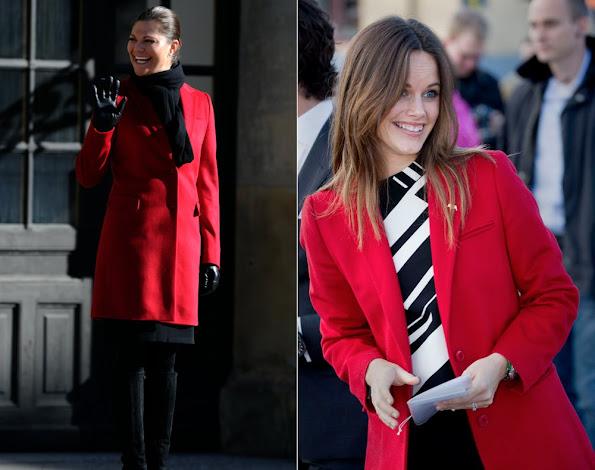 Princess Sofia Hellqvist of Sweden wore Seraphine maternity Dress and Coat