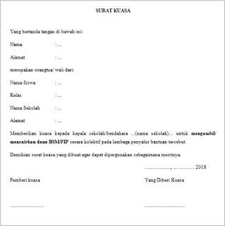 contoh surat kuasa dari orangtua/wali siswa kepada pihak sekolah