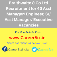 Braithwaite & Co Ltd Recruitment for 40 Asst Manager/ Engineer, Sr/ Asst Manager/ Executive Vacancies