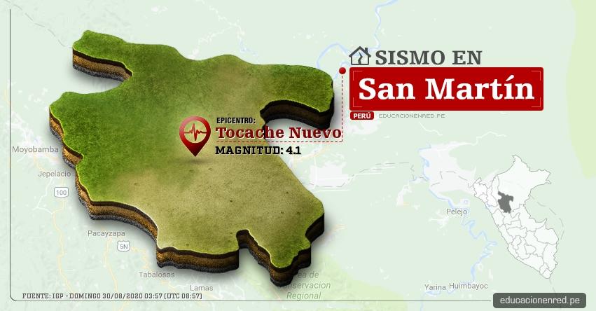 Temblor en San Martín de Magnitud 4.1 (Hoy Domingo 30 Agosto 2020) Sismo - Epicentro - Tocache Nuevo - Tocache - IGP - www.igp.gob.pe