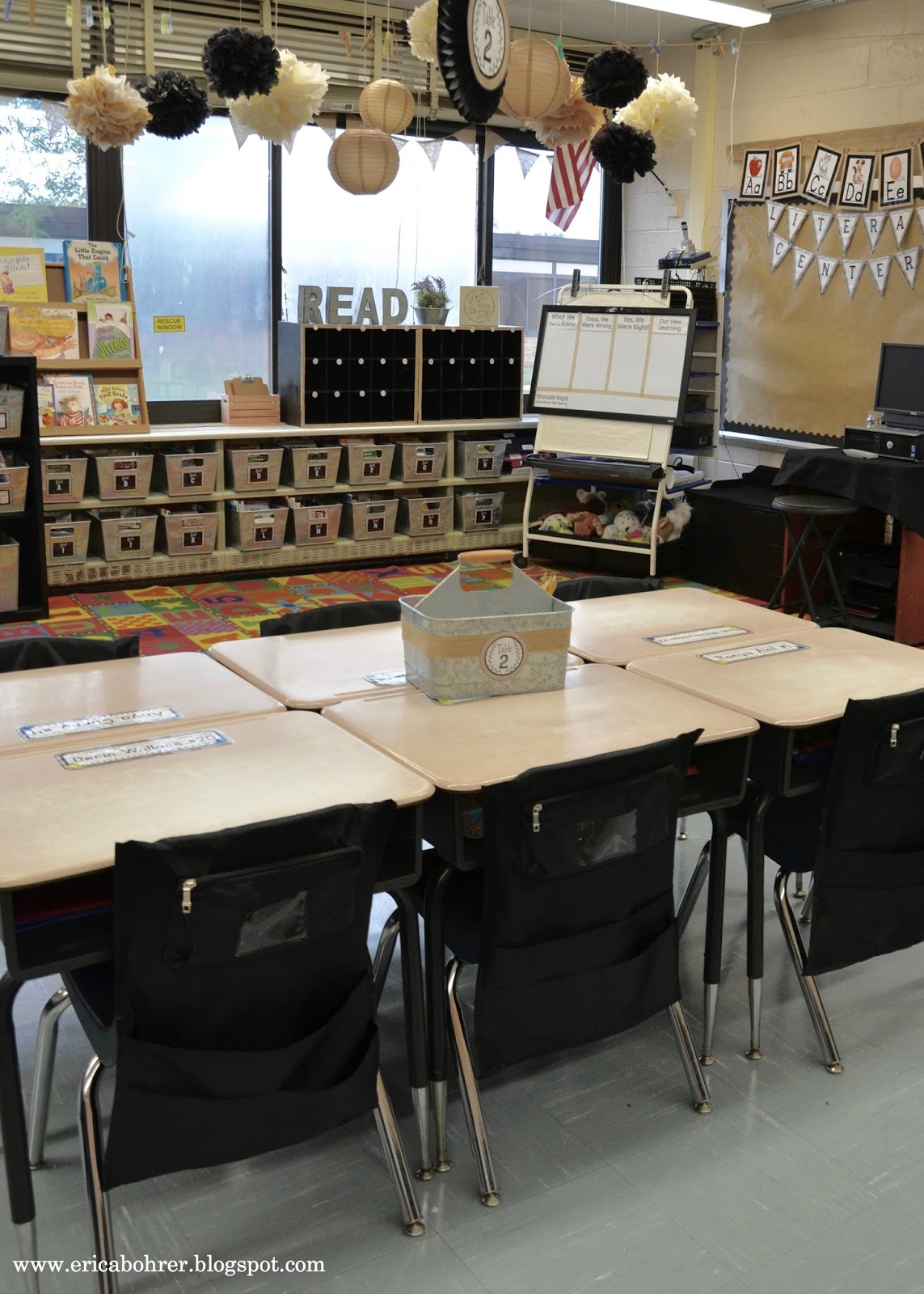 target white desk chair covers royal blue farmhouse style classroom decor
