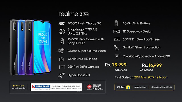 Realme 3 Pro with dual rear and 25MP selfie camera, launched at Rs. 13,999