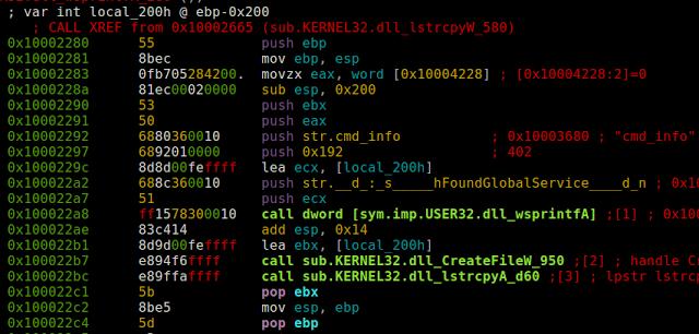 Fragmento del desensamblado de cmd_disp_ex