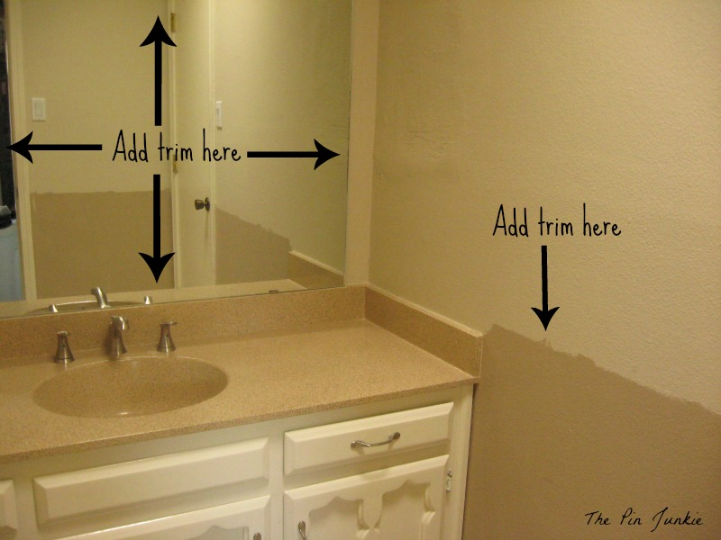 add trim to bathroom mirror bathroom makeover 21890