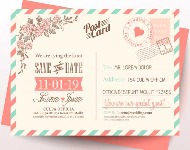 Postcard for wedding invitation download