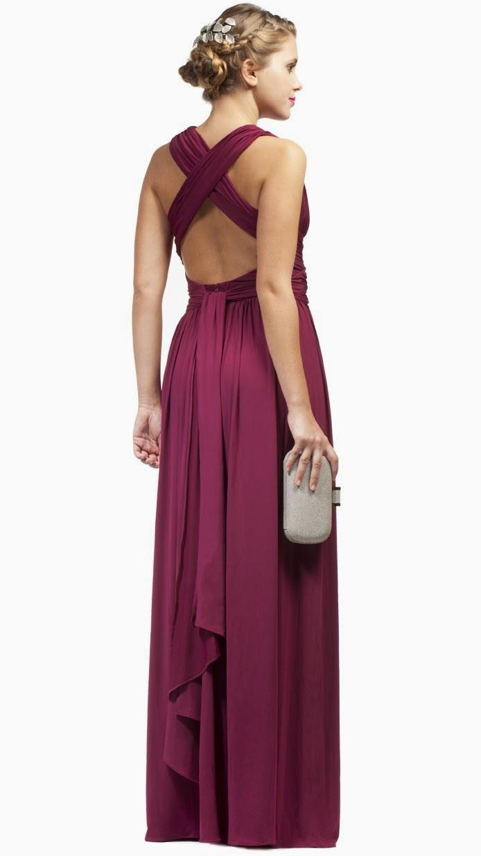 2015 uva elegante dama de honor vestidos largos en volver
