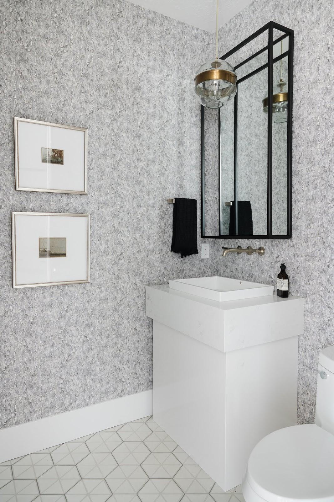 Modern Bathroom, Bathroom Wallpaper, Modern Powder Room