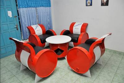 set kursi tamu unik dari drum
