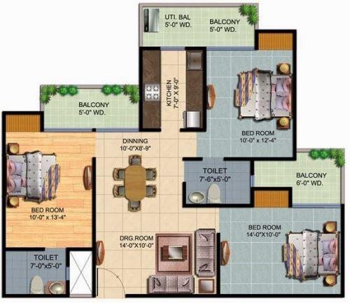 Contoh Denah rumah 3 kamar tidur
