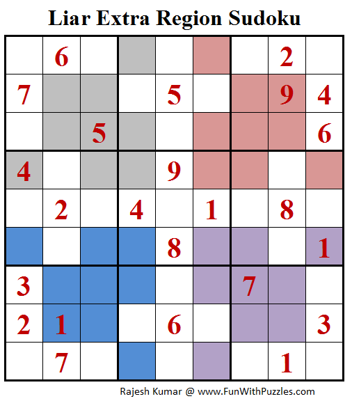 Liar Extra Region Sudoku Puzzle (Daily Sudoku League #189)