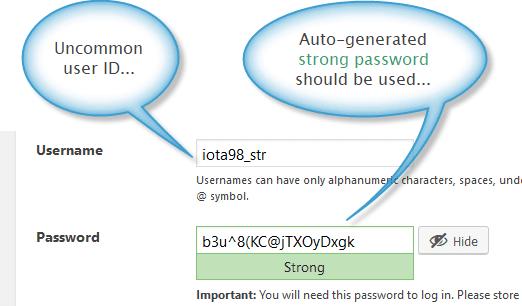 WordPress login id and password