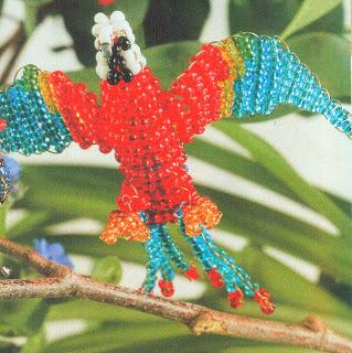 Объемный попугай из бисера