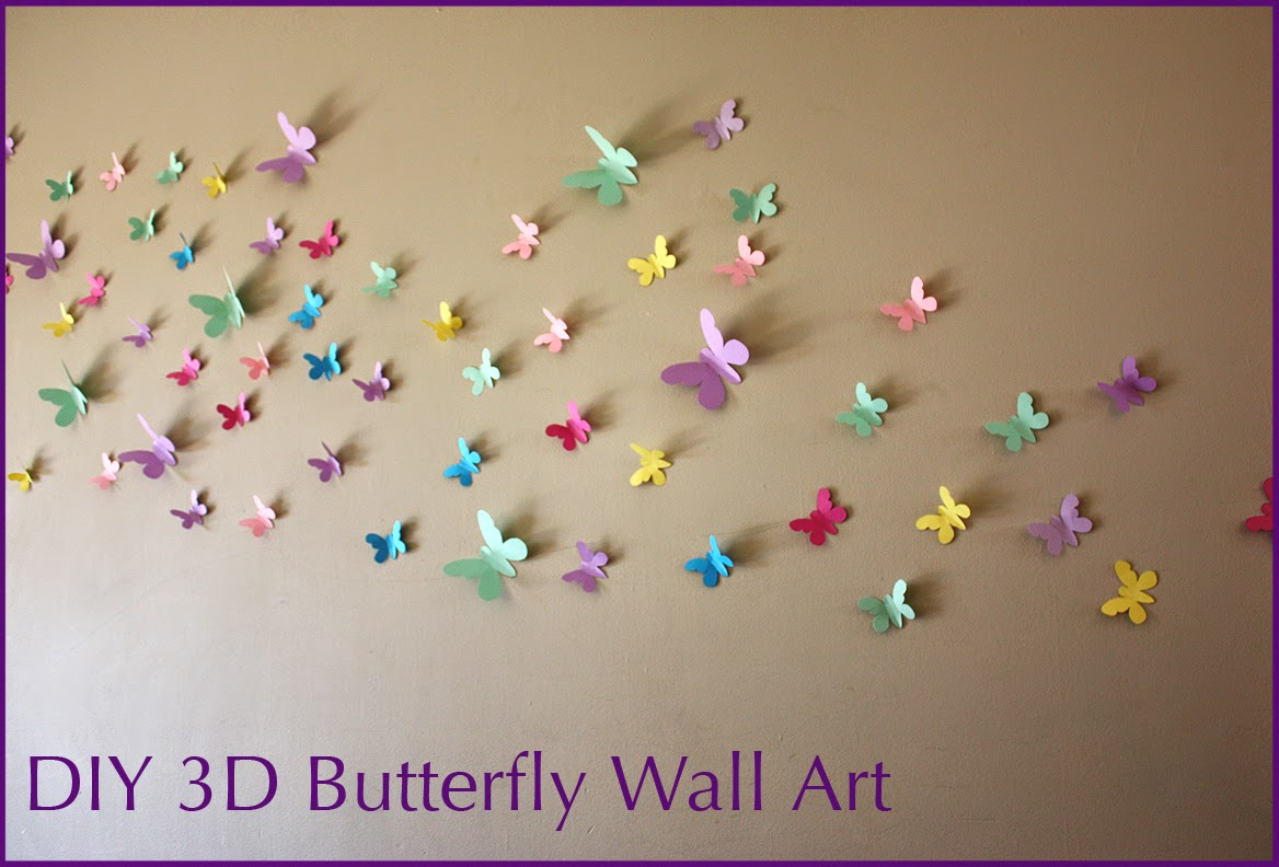 DIY 3D Butterfly Wall Art with FREE Templates & MooMama: DIY 3D Butterfly Wall Art with FREE Templates