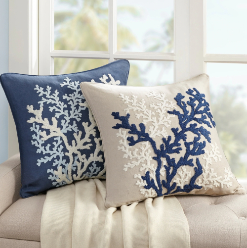 Set of 2 Matching Coral Branch Pillows