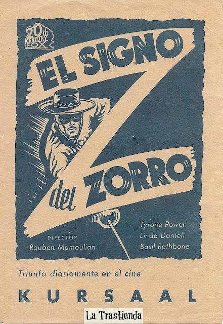 Programa de Cine - El Signo del Zorro - Tyrone Power - Linda Darnell