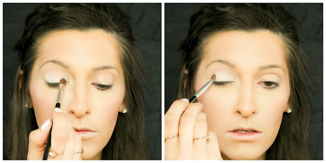 blend white shadow over the eyelids to make your eyes bigger