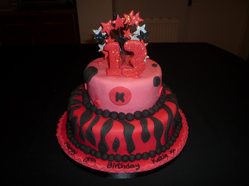 Two Tier Black And Pink 13th Birthday Cake