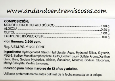 Gel Dentífrico Lacer, Ingredientes