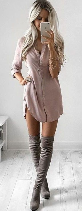 fall inspiration : shirt dress + over the knee boots