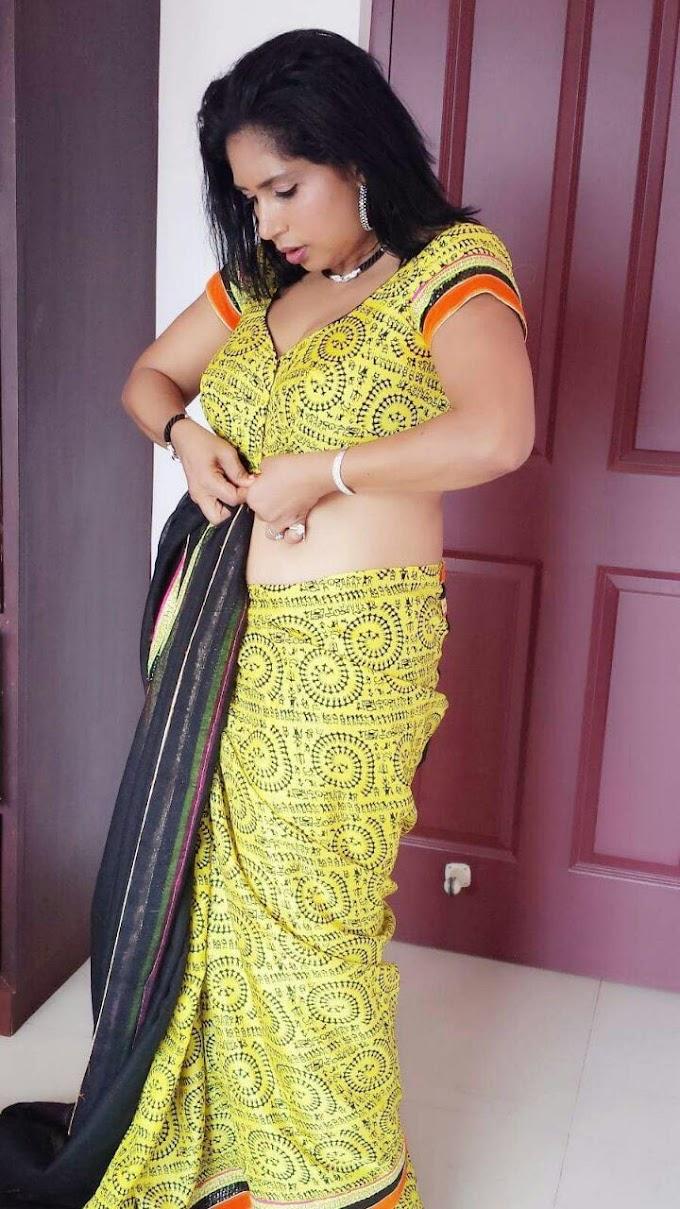 Malayalam Actress Mini Richard In Hot Saree Images
