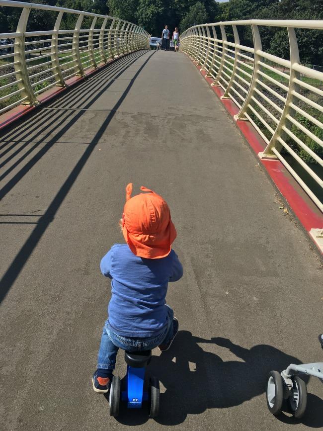 toddler-on-bike-crossing-millenium-bridge-bute-park