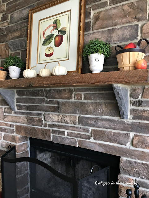Apples and Pumpkins on Mantel - Stone Fireplace Decorated for Fall