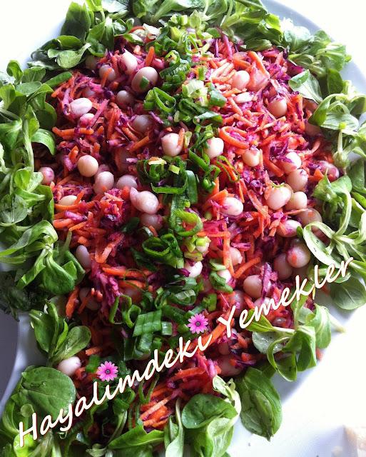 Havuç ve Karalahana ile Barbunya Salatası,resimli barbunya salatasi