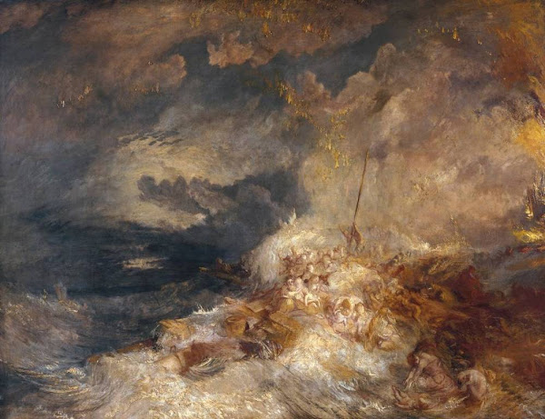A Disaster at Sea by Joseph Mallord William Turner, Macabre Art, Macabre Paintings, Horror Paintings, Freak Art, Freak Paintings, Horror Picture, Terror Pictures