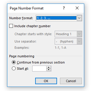 Dialog Page Number Format