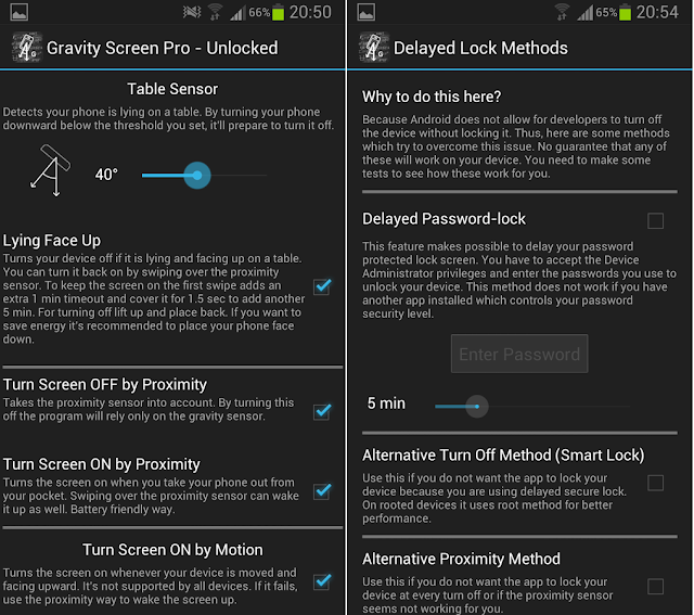 screenshot screenshot menu settings Gravity Screen - On/Off Pro terbaru