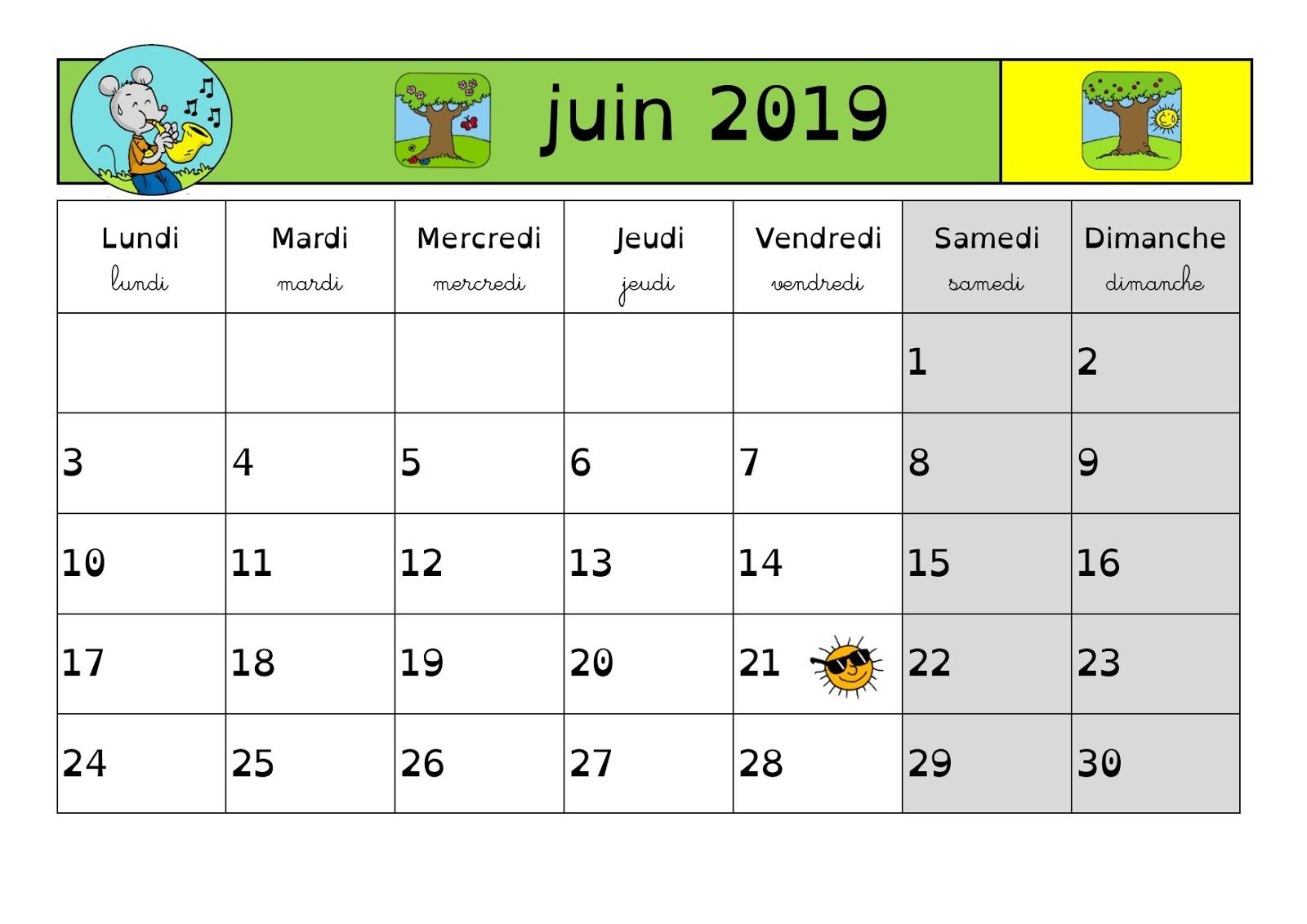 Calendrier Avril Mai Juin 2019.En Classe Avec Ludo Calendrier 2018 2019 Periode 5 Mai Juin