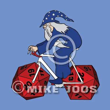 mike joos art wizard riding bike with 20 sided die wheels