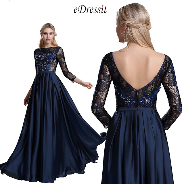 Blue Lattice 3/4 Sleeves Mother of the Bride Dress