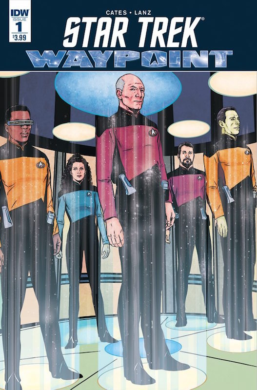 Star Trek: Waypoint #1  Story: Donny Cates, Sandra Lanz Art: Mack Chater, Sandra Lanz Colors: Jason Lewis, Dee Cunniffe Letters: AndWorld Designs. Star Trek created by Gene Roddenberry.