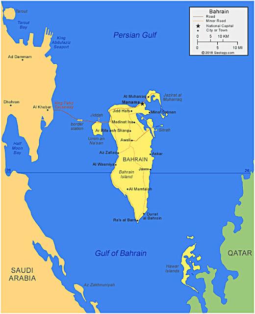 Gambar Peta Wilayah Negara Bahrain