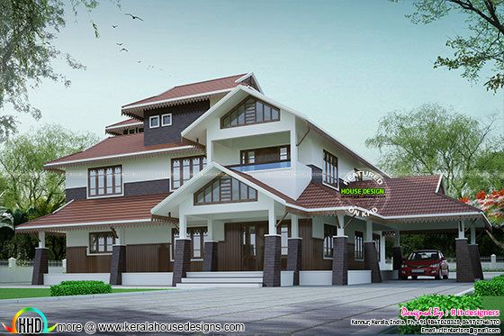 Beautiful stylish sloping roof residence