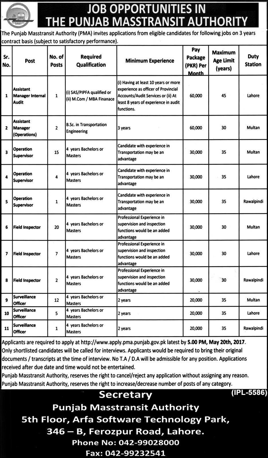 multan metro bus jobs 2017