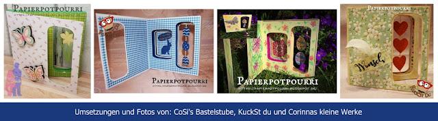 Fotos von gewerkelten Box Cards