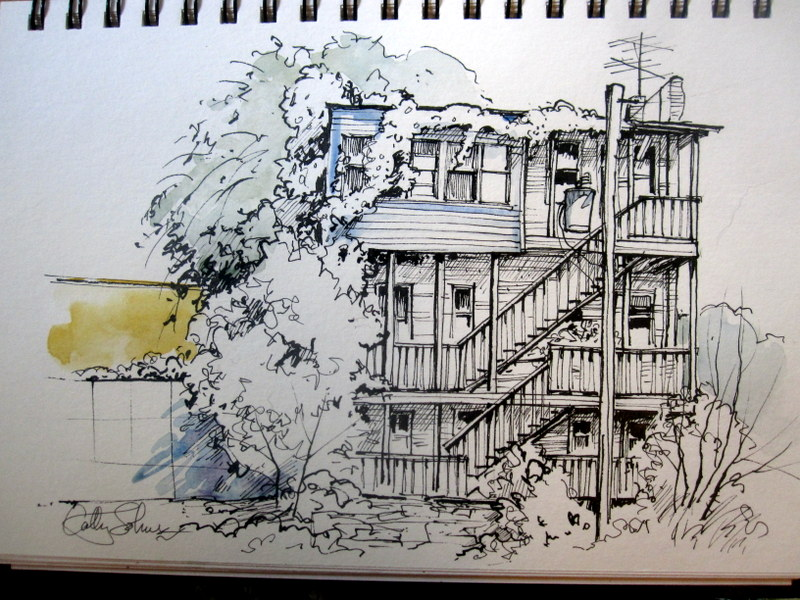 Artists' Journal Workshop: A progressive urban sketch
